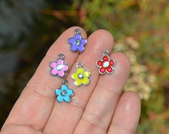 10 Silver Enamel Flower Charms SC4129
