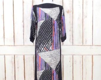 Vintage Argenti black/ivory/purple striped silk pullover dress/small/medium