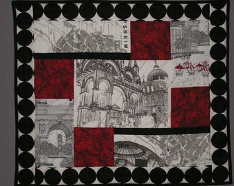 Small patchwork graphic black, white and Red