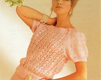 Ladies Summer Sweater Knitting Pattern - Lacy Short Sleeved 30 to 40 inches DK