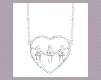 Three girls necklace. Perfect necklace for a mom of three girls. Perfect gift for Mothers Day!