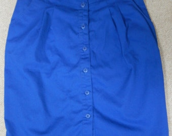 French Navy label, 90s royal blue skirt, center buttons, pleated