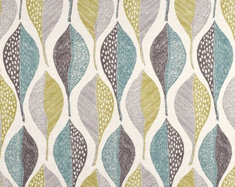 Robert Allen @ Home Woodblock Leaf Rain Fabric, Leaf Print Home Decor Fabric, Teal Grey Citrine Drapery Fabric - By 1/2 yard SHIPS SAME FAST