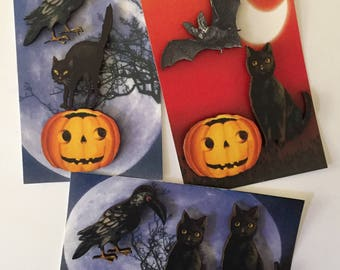 Halloween Magnet Sets,Bat Magnets,Black Cat Magnets,Halloween Decor,FridgeMagnets,Office Magnets,MinkelMagnets,Minkel Magnets,Karen Minkel