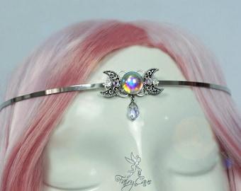 Moon tiara, fairy tiara, medieval crown, witch circlet, wicca tiara, wicca jewelry, elven tiara, elven crown, fairy circlet, fairy crown