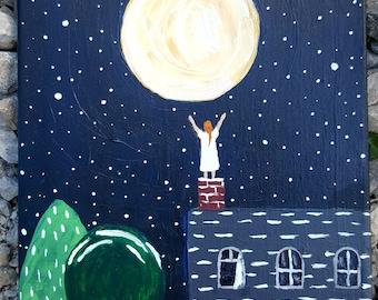 Reaching for the moon -original 8x10 painting on canvas