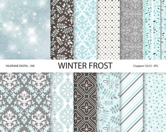 Winter Digital Paper Winter frost, blue and grey winter papers,  Christmas digital backgrounds,  12 jpg files 12x12 -  Pack 568