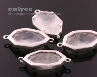 2pcs-23mmX12mmMatte Silver plated Brass Faceted Glass Framed Nature Stone Connectors-Rock Crystal(M345S-C)