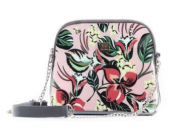 Floral crossbody bag, Pink Crossbody Bag, Designer Bag, Handbag shoulder Bag, City Bag, Urban Bag, Unique Bag, Women Bag, Crossbody Handbags