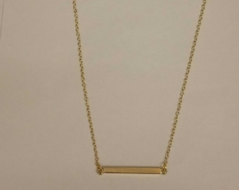 Horizontal Gold Bar Necklace - Delicate 18 carat Gold Plated Bar Necklace - Minimalist Necklace - Long bar Necklace, Christmas Gift