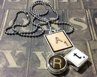 """Scrabble Pendant 18"""" Necklace, Chain Necklace"""