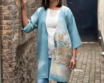Japanese Kimono Jacket | Silk Kimono Robe | Kimono Cardigan | Boho Jacket | Haori | Light Blue Kimono | Spring Jacket |