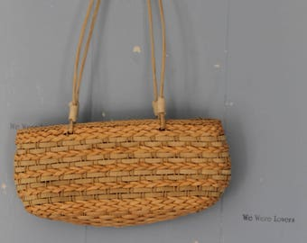 Vintage 90s Small Straw Handbag/Purse/Straw Bag/