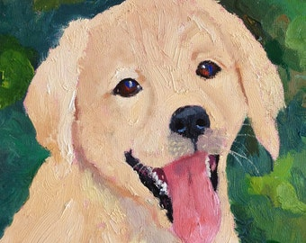 Small Original Oil Painting of Yellow Lab Puppy