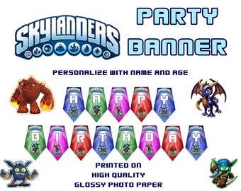 Skylanders  Party Banner, Happy Birthday Banner