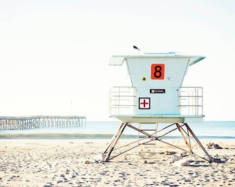 Beach Photography, Large Beach Art, Beach Decor, Lifeguard Tower, Ventura Beach Art Print, Coastal Wall Art, Large Photography Print