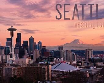 Seattle, Washington - Skyline at Twilight (Art Prints available in multiple sizes)