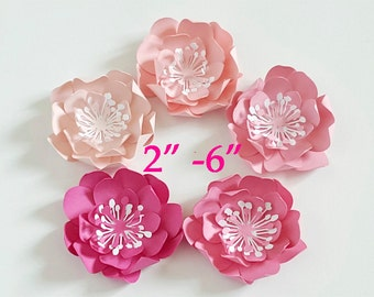 3D Pink Camellia Paper flowers/ wedding and party flowers / 3D  pink paper FLOWERS/ set of 10 flowers