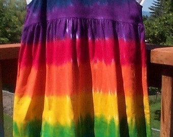 Rainbow Tie Dye Girl's Empire Waist Dress