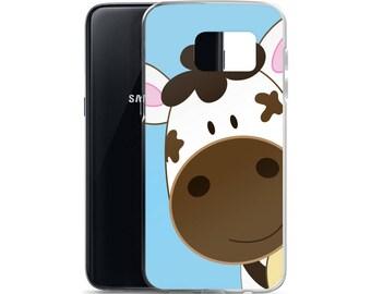 Cute Cow Blue Samsung 7 or Samsung 8 Case