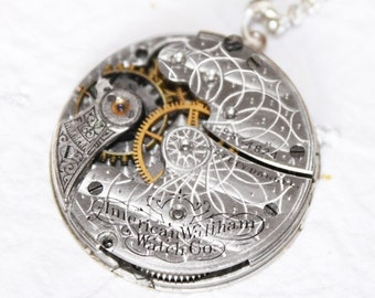 Steampunk Necklace - High End Spectacular Lotus GUILLOCHE ETCHED WALTHAM Antique Pocket Watch Movement Men Steampunk Necklace Wedding Gift