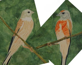 Songbird couple: a pair of linnets among green leaves - Set of 2  original acrylic paintings  on canvas - art for wall decoration