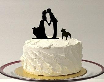 MADE In USA, Kissing Couple Silhouette Wedding Cake Topper with Dog Bulldog Pitbull Bully Breed Dog English Bulldog American Bulldog Topper