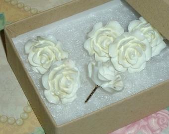 Flower Push Pins, Decorative Resin Rose Flower Cabochon Push Pin Thumb Tacks - Set of 6 - Ivory White Rose Push Pins Thumb Tacks