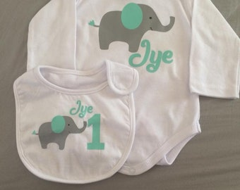 first birthday onesie and bib combo personalised