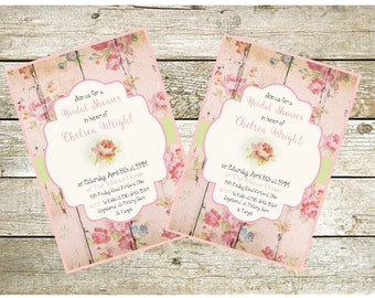 Shabby Chic Printable Invitation,  Bridal Shower, Baby Shower, Party Invitation, Wood and Roses