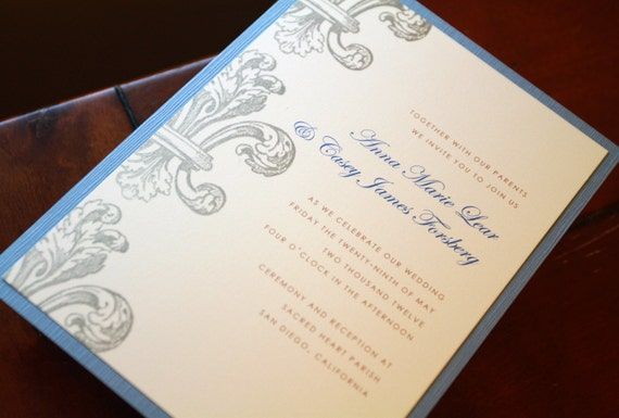 Wedding Invitations New Orleans: Items Similar To Fleur De Lis Invitations, Wedding