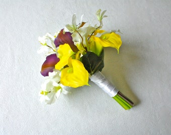 Yellow, Purple, White Real Touch Calla Lilies and Silk Orchids Bridal Bouquet (Summer Wedding, Fall Wedding)