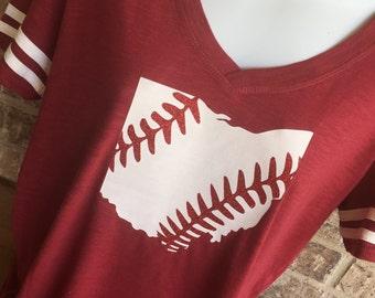 V- Neck Ohio Laces Baseball T-Shirt, Baseball mom shirt, Baseball Shirt, Baseball Mom, Baseball Mom Tee, ohio Baseball Shirt
