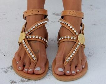 "Leather sandals, Greek leather sandals, Luxury sandals, Swarovski crystals, ""Astra"""