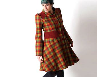 Flared checkered coat, Red and green winter wool coat with colorful pattern, Red womens coat, womens winter coat, womens clothing, MALAM