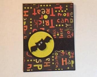 homemade Halloween card; Halloween homemade card; greeting card; holiday card; blank card; bat Halloween card; homemade bat Halloween card
