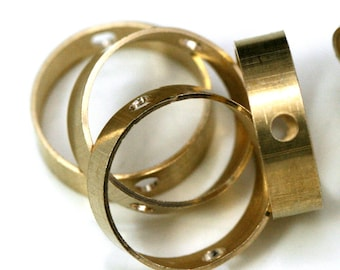 """brass bead frame 20 pcs 14 x 4 mm 0,55"""" x 0,16"""" (hole 13 mm 0,51"""")  2 hole ring connector ring 1216R"""