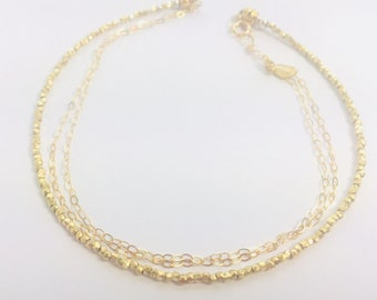 Gold vermeil bead and chain bracelet
