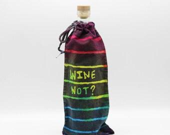 Batik Wine Bag, OOAK Trippy Rainbow Bottle Cover, Hippie Gift