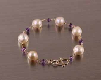 Champagne Kasumi Like Edison Wrinkle Pearl Bracelet, Amethyst Bracelet, Wire Wrapped, Gold Filled Silver, Rosary Bracelet, Purple Cream