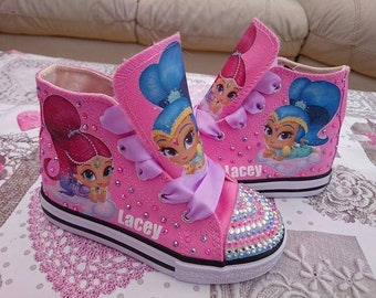 Custom Canvas Shoes Shimmer High Tops Personalised Genie Pumps