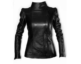Leather jacket with a high shoulder