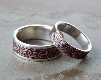 PAISLEY Silver & Copper // Mens Wedding Band // Womens Wedding Band // Silver Wedding Band // Copper Wedding Band // Mens Wedding Ring