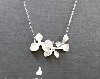 Triple Orchid Necklace in Silver - Perfect Gift - Dainty Flower Pendant Suspended on Sterling Silver Chain Gift for Bridesmaid, Best Friend