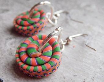 Bright Orange and Green Stacker Bead Earrings .. handmade polymer clay beads