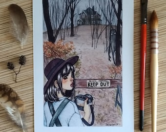 A5 print Keep Out watercolor illustration