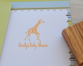 Custom Baby Running Giraffe Olive Wood Stamp