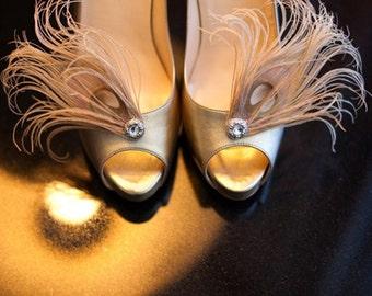 Wedding Champagne Shoe Clips. Big Day Stylish Feminine Couture Sparkly Stunning Burlesque, Bride Bridal Bridesmaid Gift. Nude Tan Bone Beige