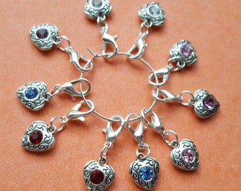 10 Crystal Heart stitch markers