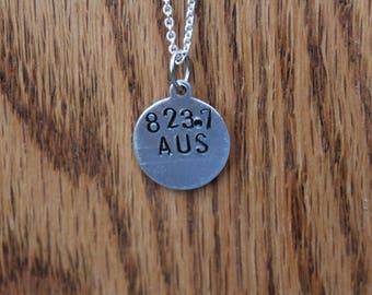 823.7 AUS - Austen Dewey Decimel Metal Stamped necklace